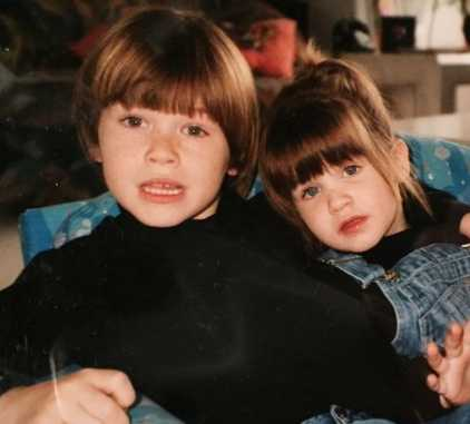 Delaney Glazer Childhood Picture with her brother